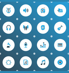 Multimedia icons colored set with octave earmuff vector