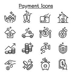 payment icon set in thin line style vector image