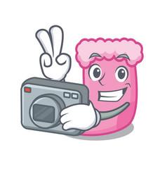 Photographer sock mascot cartoon style vector