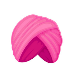 Pink tall turban on white vector