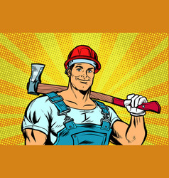 pop art lumberjack woodcutter with axe vector image