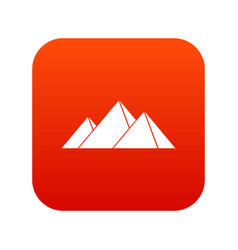 Pyramids in giza icon digital red vector