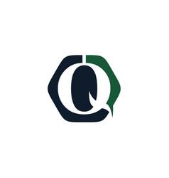 Q logo abstract hexagon vector