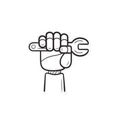 robot arm with wrench hand drawn outline doodle vector image