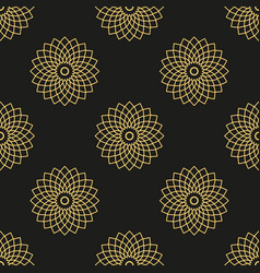 Seamless pattern with golden mandalas on black vector