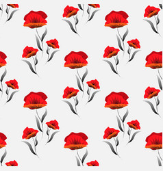 seamless pattern with poppy abstract floral print vector image
