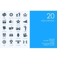 Set blue hamster library hollywood icons vector