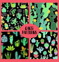 set cacti seamless patterns vector image