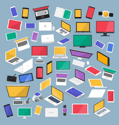 Set flat design concept computer desktop tablet vector