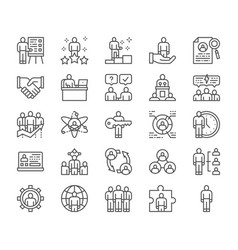 set human resources line icons employee vector image