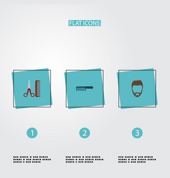 set of barber icons flat style symbols with beard vector image