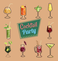 Set of cocktails isolated icons packaging web vector