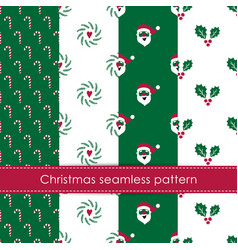 set winter holidays seamless patterns merry vector image