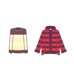 shirt and jacket line art illuctration stylish vector image