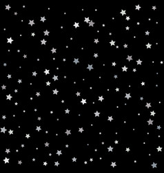 silver stars falling from the sky on black vector image