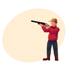 single hunter aiming at his target with a gun vector image