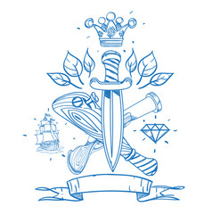 sketch of tattoo with daggers a crown and a vector image