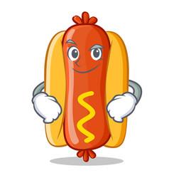 Smirking hot dog cartoon character vector