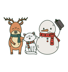 snowman cat and reindeer celebration merry vector image