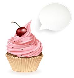 Speech Bubble Cupcake vector image