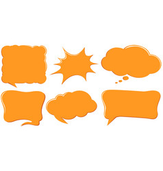 Speech bubble templates in orange color vector