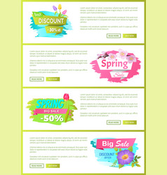 spring sale advertisement labels on web posters vector image