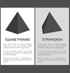 Square pyramid and tetrahedron geometric figures vector