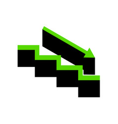 Stair down with arrow green 3d icon with vector
