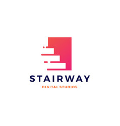 stairway digital tech upstair logo icon vector image