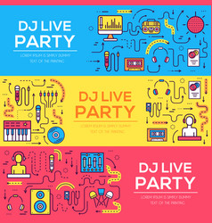 thin lines icons of nightclub dj staff and any vector image
