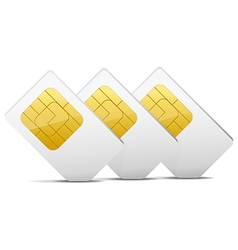 Three gray white sim cards vector
