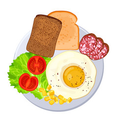 traditional breakfast on plate isolated vector image