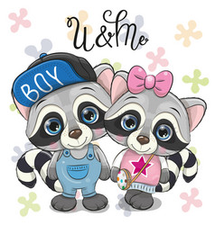 two cute raccoons on a flowers background vector image