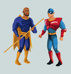 Two superhero male justice with super suit vector