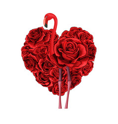 valentines day red roses heart filled and flamingo vector image