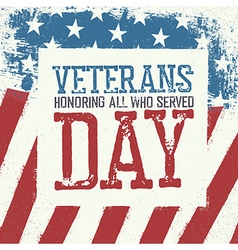 Veterans day typography on american flag vector