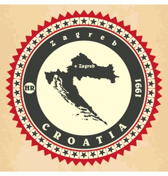 Vintage label-sticker cards of croatia vector