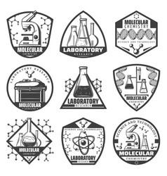 Vintage monochrome laboratory research labels set vector
