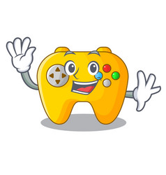 Waving video game controller shaped on charcter vector