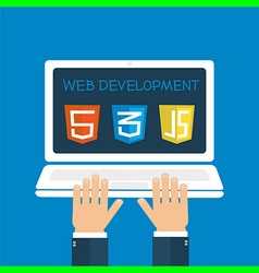 Web development hands on laptop vector