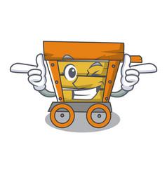 Wink wooden trolley character cartoon vector