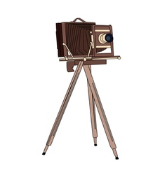 Wooden classic retro camera vector