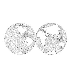 World map of the two spheres from polygonal black vector