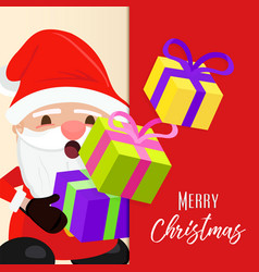 christmas greeting card cute holiday santa claus vector image vector image