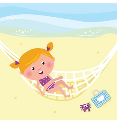 girl relaxing in the hammock vector image