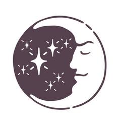 hand drawn magic esoteric moon nature cosmos cycle vector image