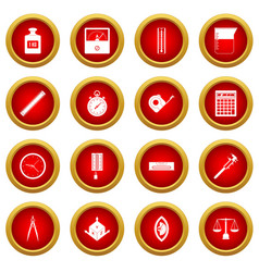 measure precision icon red circle set vector image