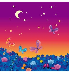 night medow with bugs vector image vector image