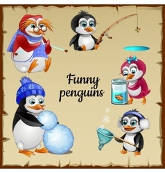 Set of five funny penguins with his hobby vector image