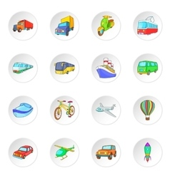 Transport icons set cartoon style vector image